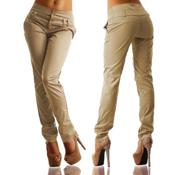 Las mujeres forman pantalones cómodos delgados ocasionales delgados del lápiz pantalones de bolsillo mujeres del color sólido de las mujeres pantalones