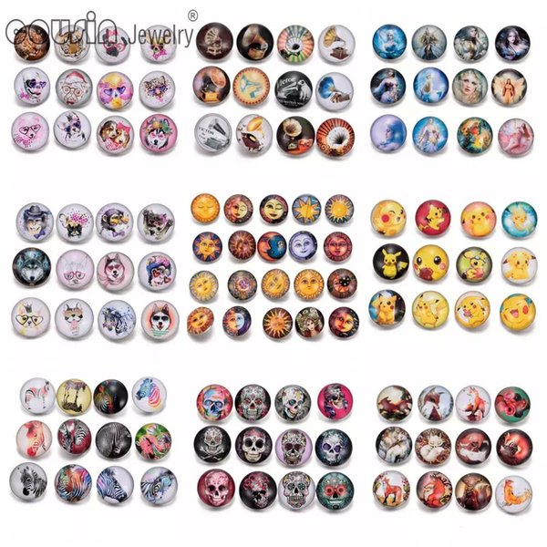 Wholesale- 12pcs/lot Mixed Colors Various patterns 18mm snap button Jewelry Faceted glass Snap Fit snap Button Bracelet Jewelry 91001