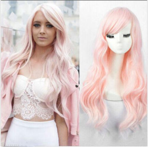 Free shipping New High Quality Fashion Picture wig >>Women's Fashion long curly Synthetic light pink hair Wavy no Lace Wig full wigs