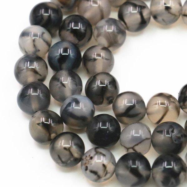 2 UNIDS Al Por Mayor 6 8mm Piedra Natural Onyx Cornalina Gris Ronda Vetas del Dragón Agates Perlas Sueltas para la Fabricación de Joyas Artesanales 15