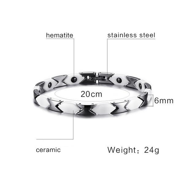 Christmas gift mixed order men's women's stainless steel ceramic magnetic bracelets unisex magnet bracelet fashion jewelry factory sale 004