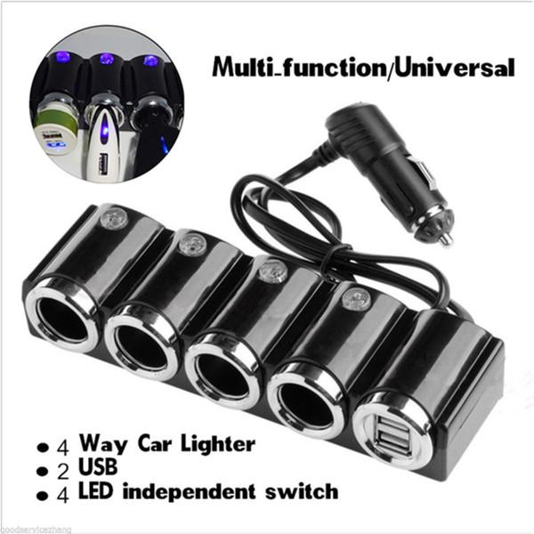 4 웨이 자동차 담배 라이터 소켓 분배기 자동차 충전기 어댑터 USB 12V 24V LED 라이트 스위치 유니버설
