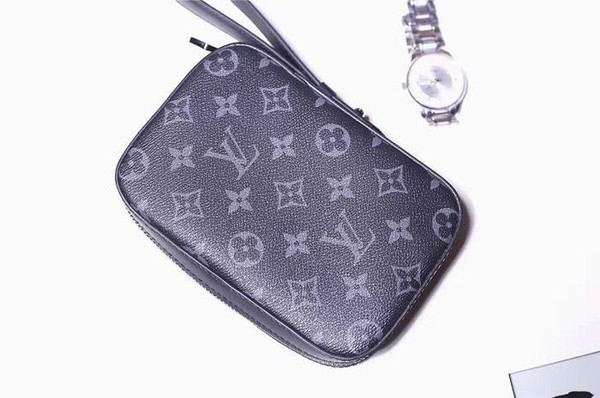 Black Gray Eclipse Canvas Clutch Bag BOX Clutch M61872 WALLETS OXIDIZED LEATHER CLUTCHES EVENING LONG CHAIN WALLETS COMPACT PURSE