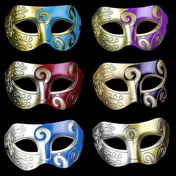 Sliver Black Half Faces Mask For Men Roman Gladiator Mask Venetian Mardi Gras Masquerade Halloween Costume Party Mask