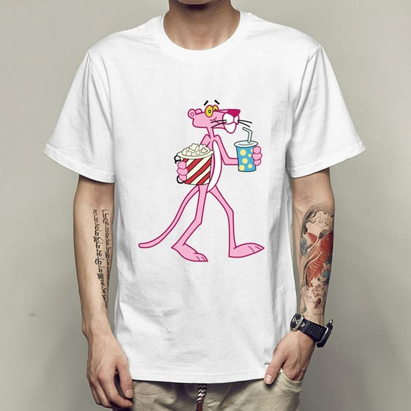 55f94600 Pink panther t shirt Smart cheeky short sleeve gown Cartoon tees Unisex  clothing Quality modal Tshirt