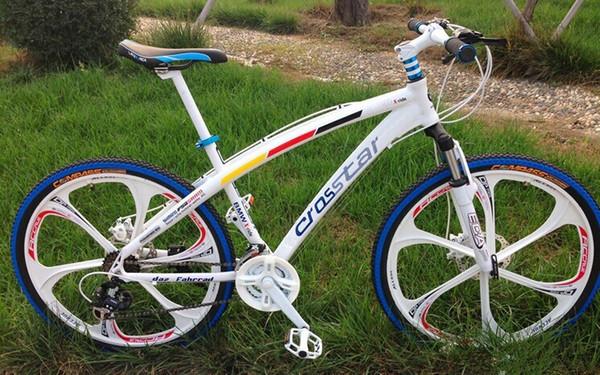 wholesale 26*17 inch Aluminium alloy frame mountain bike road bikes double disc brake Suspension fork MTB bicycle free shipping