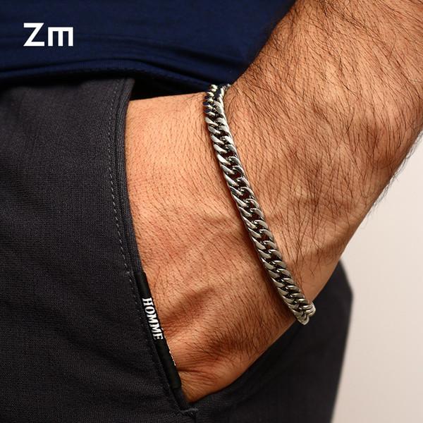 New Fashion Stainless Steel Charm Silver Gold Bracelet Men Vintage Bracelets Gold Bangles Male Men Jewelry Wristbands Band