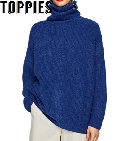 2017 Women Autumn Winter Turtleneck Royal Blue Knitted Sweaters Female Loose Knitted Pullovers with Rabbit Hair Comfy Sweater
