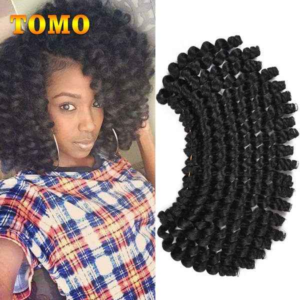 TOMO Synthetic Crochet Ombre Braided Jumpy Wand Curl Crochet hair Jamaican Bounce African Braiding Hair Extensions Kanekalon 20roots/pack