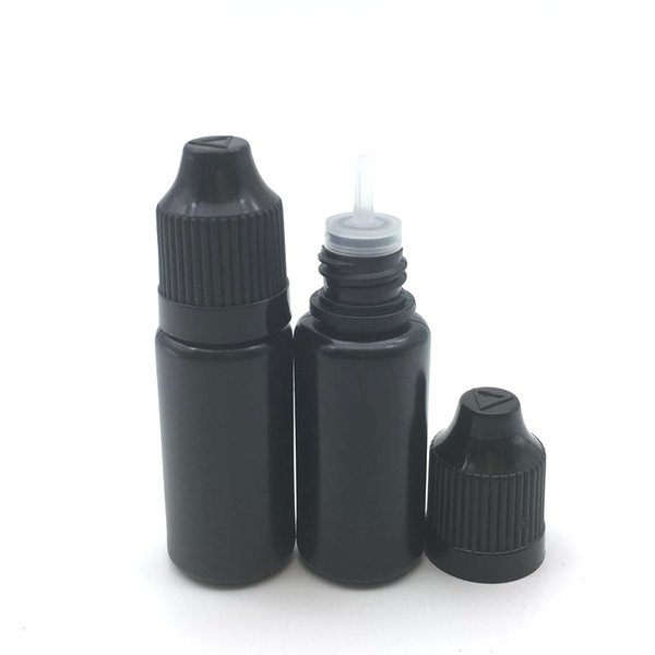 Fast Shipping Black PE 10ml Dropper Bottle With Childproof Cap And Long Thin Tip Plastic Dropper Bottles 10ml E Liquid Bottle