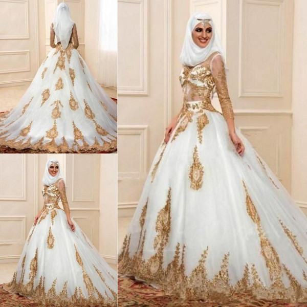 Fashion Muslim Wedding Dresses 3/4 Sleeves With Gold Appliques Arabic Bridal Gown Indian Style Engagement Dresses Robe De Mariage