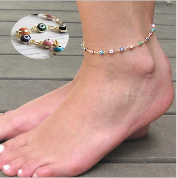 Blue and colour eyes design Gold plated with Metal Circle series connection for Women Anklet Simple gift