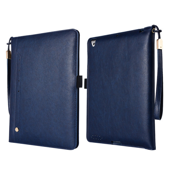 High Quality PU Leather Case for iPad 4 3 2 Flip Cover with Card Slots Holder for iPad 3+Stylus