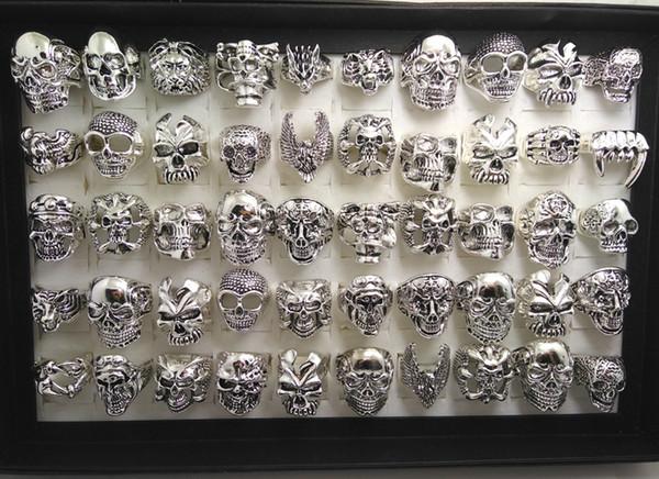 30pcs Skull Skeleton Gothic Biker Rings Men's Rock Punk Ring Party Favor Wholesale Jewelry lots