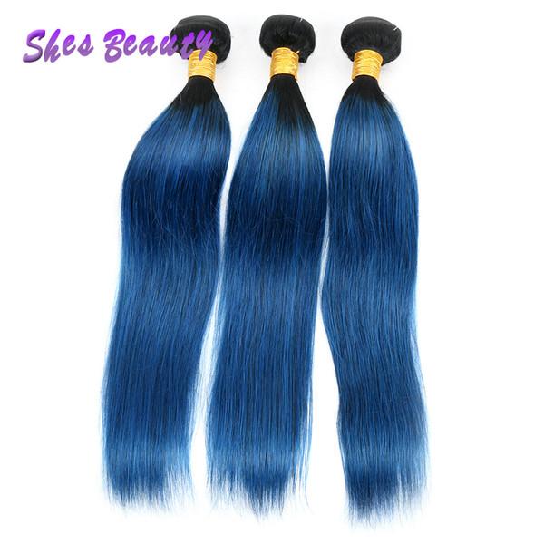 Ombre Blue Color Human Hair 3 Bundles Straight Weave 100% Straight Human Hair Two Tones 1B Blue Hair Bundles 100g/PC