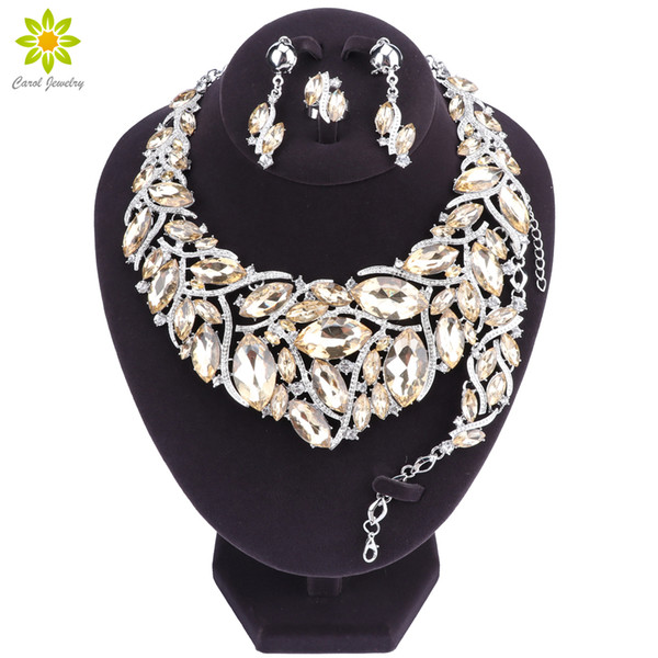 Beautiful Leaf Indian Jewellery Bridal Jewelry Set Silver Plated Rhinestone Party Wedding Prom Necklace Set Gift For Women