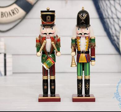 wholesale 2pc Special offer 30cm Nutcracker Christmas ornaments Home Furnishing puppet soldiers Zakka wedding