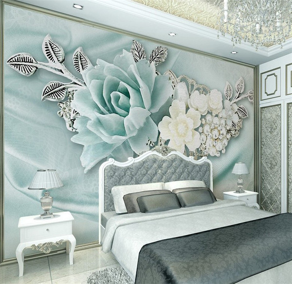 Acquista Pittura 3D Fiore Verde Carta Da Parati Camera Da Letto TV Sfondo  Decorazione Carta Da Parati Papel Pared Le Papier Peint Papier Peint 3d ...