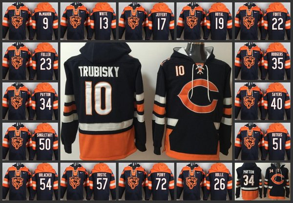 low priced 84d3f 3dc30 2018 2018 Top Chicago Bears Men Hoodie #52 Khalil Mack 10 Mitchell Trubisky  54 Brian Urlacher 34 Walter Payton 23 Kyle Fuller Pullover Hoodie From ...