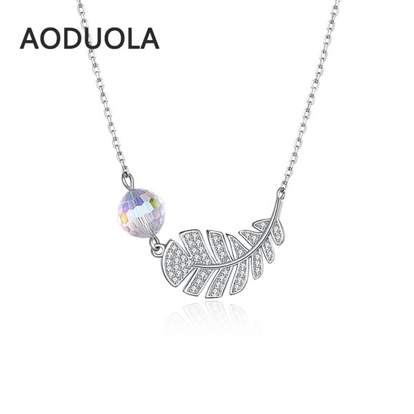 Fine 925 sterling silver necklace Feather with Big crystal Pendant silver long Chain Necklaces for Women Jewelry gift Fashion