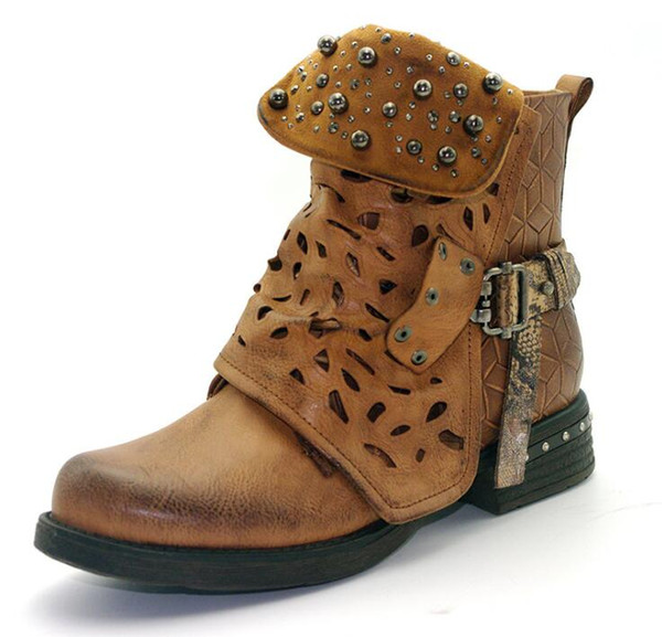beaded women winter ankle boots leather zipper buckle ankle western boots cowboy round toe women boots low heels zx110