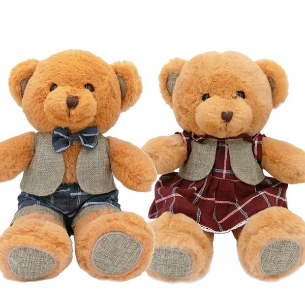 38cm Couple Teddy Bear Stuffed Animals Plush Toy Kawaii Bear with Fashion Cloth Cute Brown Soft Doll Gift for Children
