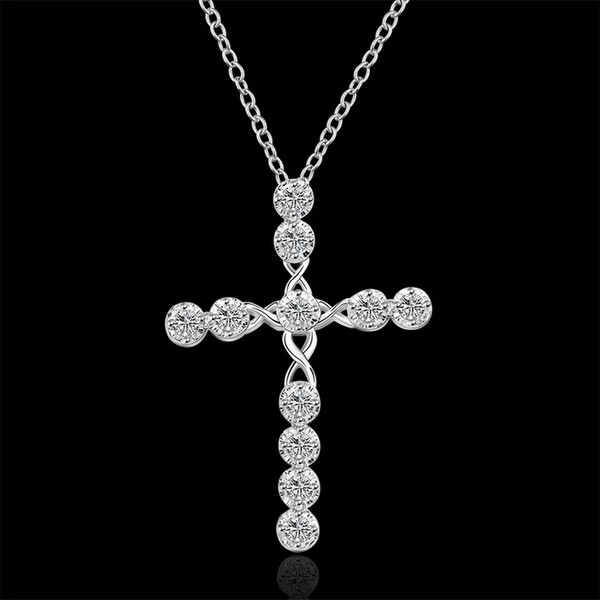 hot sale Sterling Silver fashion CZ Diamond crystal engagement wedding women jewelry charms cross cute necklace