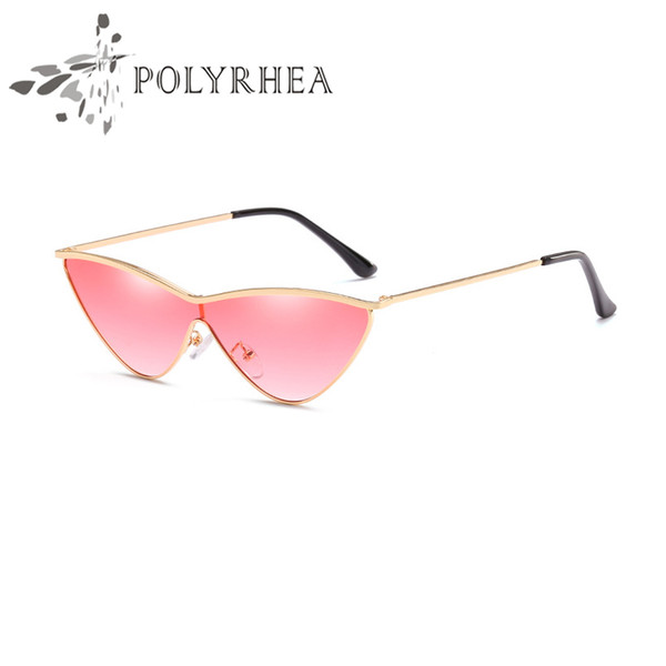 2018 New Arrival Women Sunglasses Triangle Small Cat Eye Sun Glasses Brand Designer Shiny Gold Frame Laser Logo Women Top Quality With Box