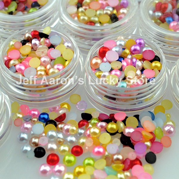 72 pots colorized 3d nail pearl glitter mix size rhinestones for nail art tips decoration tools Wholesale