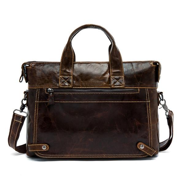 "Vintage 100% Genuine leather Men Business Briefcase Russian Fashion Style Men Leather Handbags 14"" Laptop Bag"