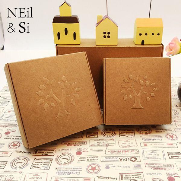 Präge-Baum-Kraftpapier-Kasten für die Hochzeits-Süßigkeits-Handwerks-Geschenk-handgemachte Seife, die Brown-Kästen verpacken Freies Verschiffen
