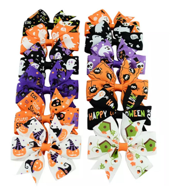 best selling 3 inch Baby Halloween Grosgrain Ribbon Bows WITH Clip Girls Kids Ghost Pumpkin Baby Girl Pinwheel Hair Clips Hair Pin Accessories
