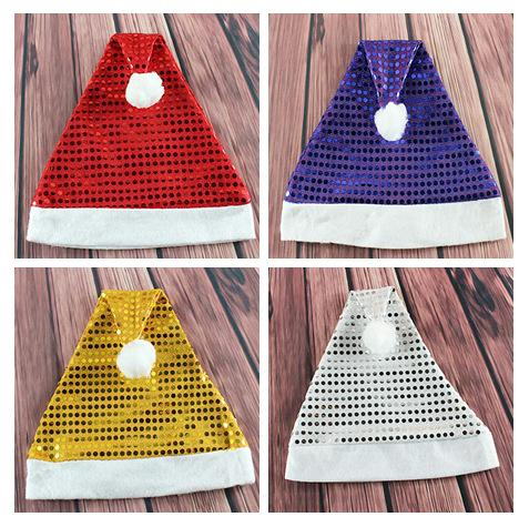 Mixed Color Christmas Decorations Adult Christmas Hat Santa Claus Hat High-end Sequins
