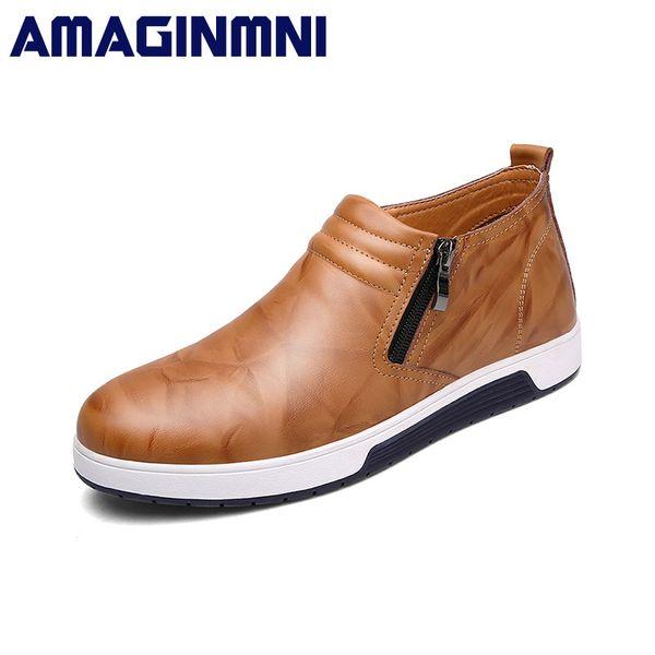 AMAGINMNI Brand Men Fashion Boots Durable Rubber Sole Man Genuine Leather Ankle Shoes men Brown/Black Winter warm cotton boots