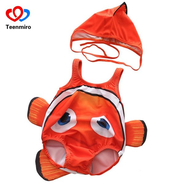 Baby Clown FishSwimwear 2pcs Cartoon Sleeveless Swim Suit for Boys Girls 2018 Toddler Infant Bathing Suit Beachwear Hat