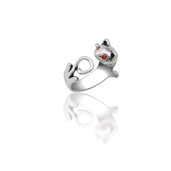 Gothic Punk Animal Rings For Women Men Vintage Silver Red Eyes Squirrel Cat Ring Opening Adjustable Biker Jewelry Christmas Gifts