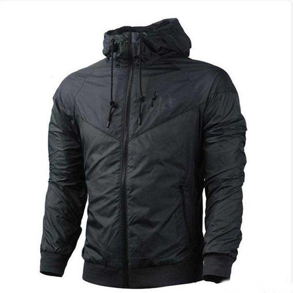 Mens Langarm Herbst Sport Reißverschluss Windjacke schwarze Jacke Herren Outdoor Windjacke Sweatshirt Hoodie übergroßen Mantel Männer Unisex-Kleidung