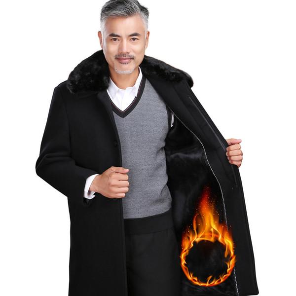 Mélanges de laine véritable manteaux épaissis pardessus de manteaux de cachemire pour hommes X-long doublure en laine fourrure col rabattable Sobretudo Masculinos Slim