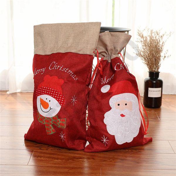 Christmas Gift Bags Large Organic Heavy Canvas Bag Santa Sack Drawstring Bag With Reindeers Santa Claus Sack Bags for kids 100pcs T1I1055
