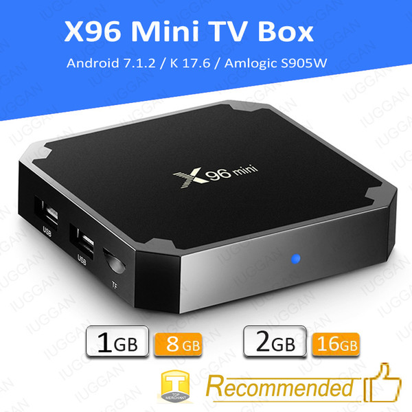 top popular X96 Mini Android 7.1 Amlogic S905W STB tv box 1GB + 8GB eMMC Flash player 17.6 4K Smart Android TV Box VS tx3 MXQ Pro 2019