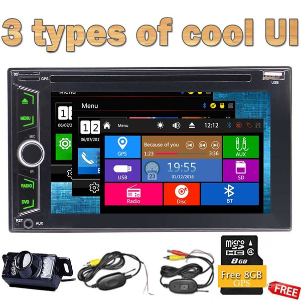 Double Din Car automotive Stereo GPS Navi 1080P car DVD CD Audio Player GPS Navigator Radio Bluetooth Dual Zone Subwoofer Wireless camera