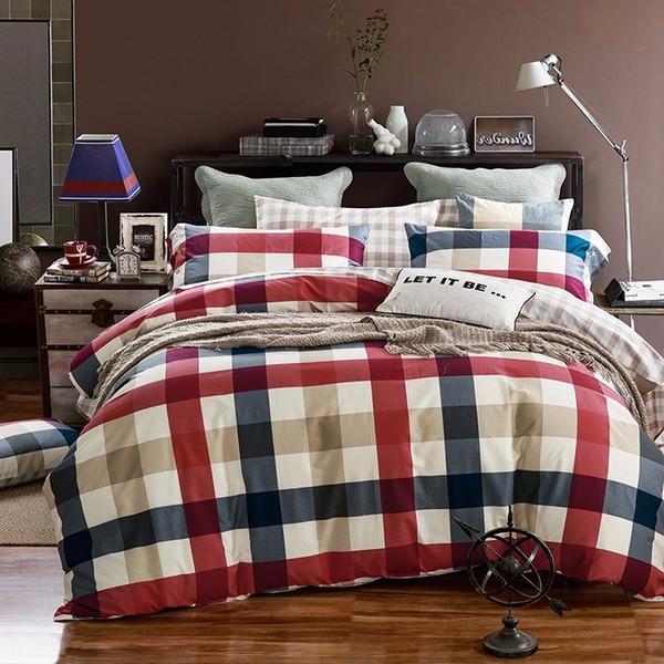 Home Textile Color Stripes Lattice Flower Style 100% Cotton 4pcs Bedding Set Duvet Cover Bed Sheets Pillowcase Bedlinen