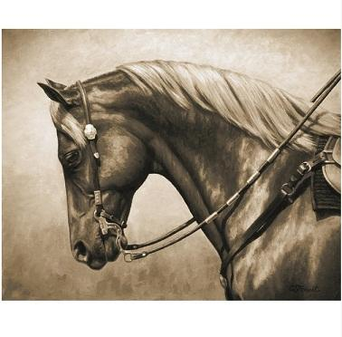 Western Horse Paintings In Sepia black and white Free Shipping,Hand-painted Animal Art oil painting On Canvas High Quality Multi sizes a181