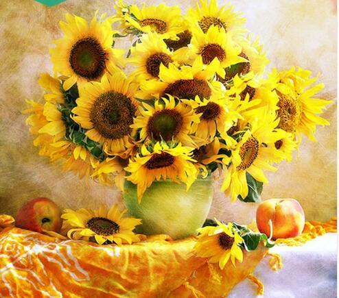 5d diy elmas nakış, 5d elmas boyama, elmas mozaik çiçek ayçiçeği vazo tam taklidi çapraz dikiş, noel, dekor