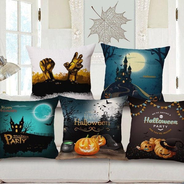 7 Styles Happy Halloween Party Cushion Covers The Horror Night Pumpkin Witches Bats Cat Moon Cushion Cover Linen Pillow Case