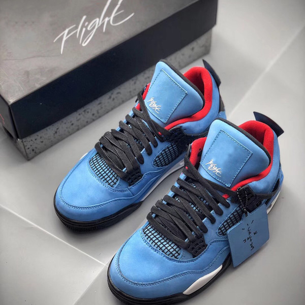 36415875038 (With Box) New 4s IV Travis x Houston Blue Black Red Basketball Shoes for