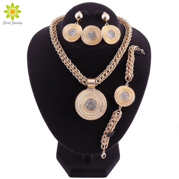 Grandes sistemas de la joyería para las mujeres que se casan los granos africanos Conjunto de la joyería pendientes cristalinos del collar que cuelgan Joyería india de Etiopía
