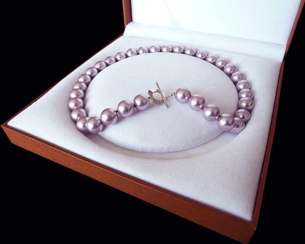 Seltene Riesige 12mm Echte Südsee Lila Shell Perlenkette Herz Verschluss 18 ''