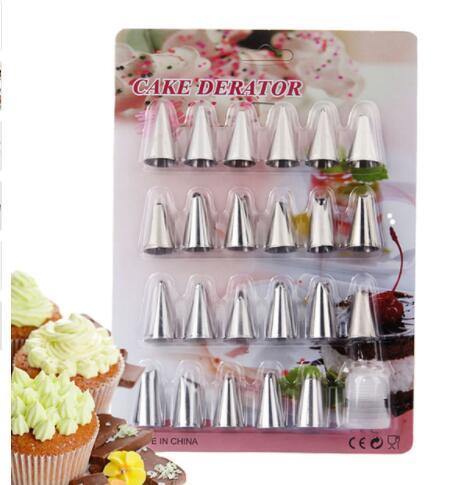 Cake Decorating Tip Stainless Steel Cake Piping Pastry Nozzles Pastry Tips Baking Tool 24Pcs/set DIY Icing Piping Pastry Nozzles KKA5185