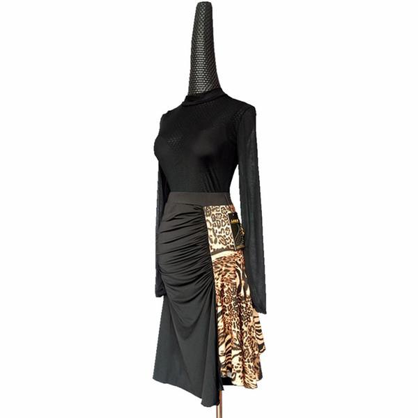 2018 Newest fashion Women Latin Dance Dress Costumes Women Sexy Leopard Skirt Lady Cha Cha Samba Rumba Dance Clothes S/M/L